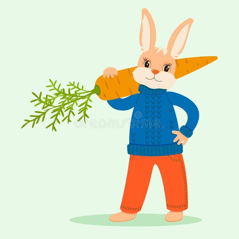 Hasen in der Kleidung mit einer Karotte auf der Schulter lizenzfreie abbildung