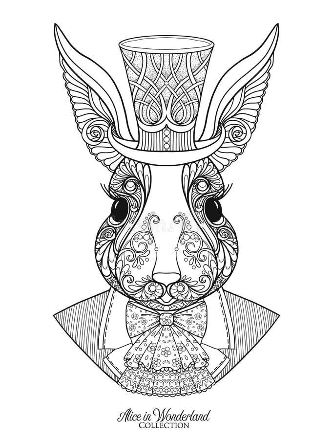 Hasen oder Kaninchen im Hut von den Märchen Alice in Wonderla lizenzfreie abbildung