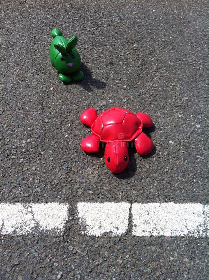 Hasen und Schildkröte stockfotografie