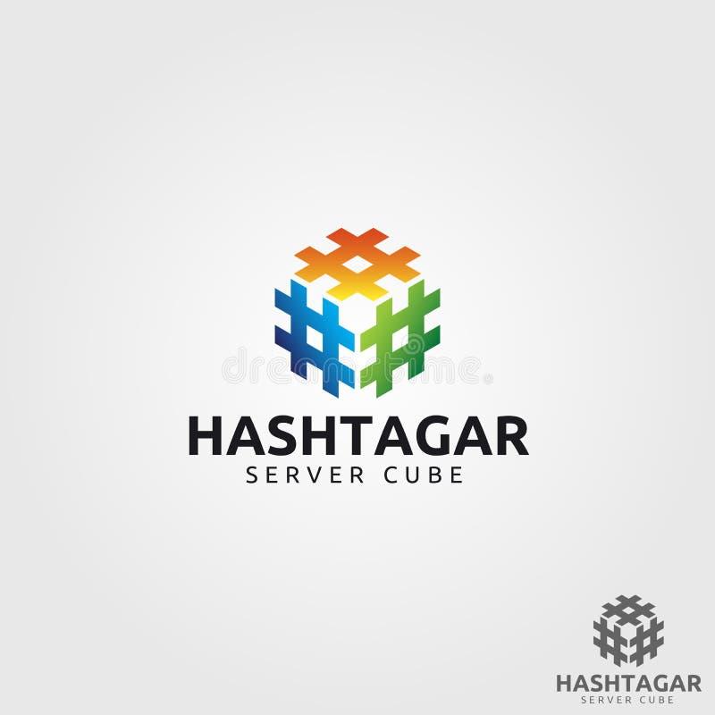 Hash πρότυπο λογότυπων κύβων ετικεττών απεικόνιση αποθεμάτων