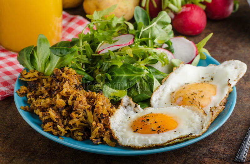 Hash Browns potato with eggs royalty free stock images