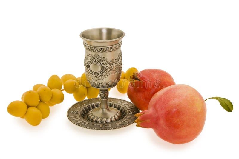 Hashana van Rosh. Kop, granaatappels en data. royalty-vrije stock foto