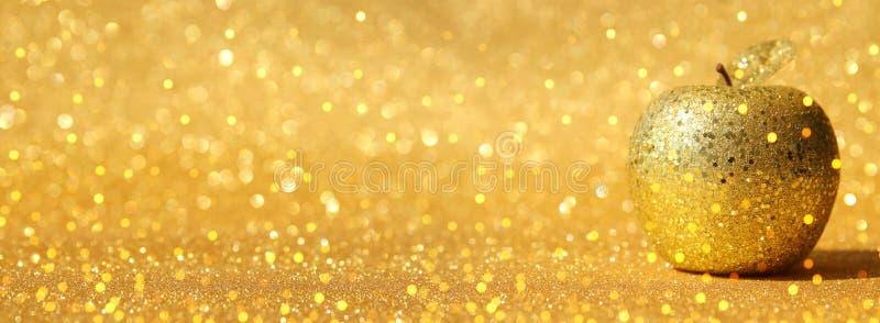 Hashanah de Rosh & x28; holiday& judaico x29 do ano novo; conceito Símbolo tradicional, maçã decorativa do ouro do brilho fotos de stock