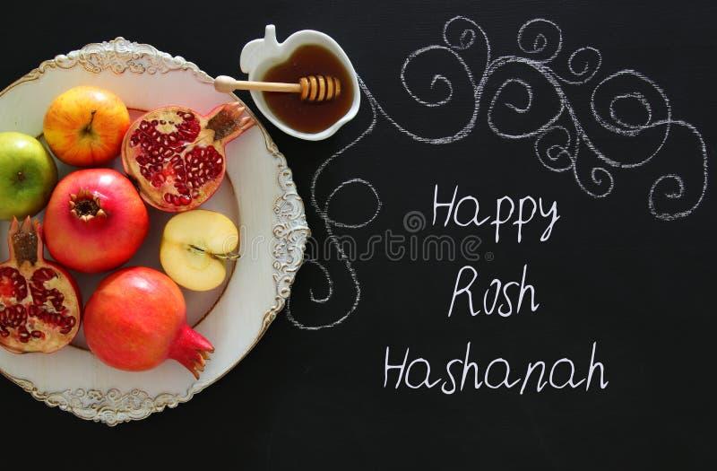Hashanah di Rosh & x28; holiday& ebreo x29 del nuovo anno; concetto Simboli tradizionali fotografia stock