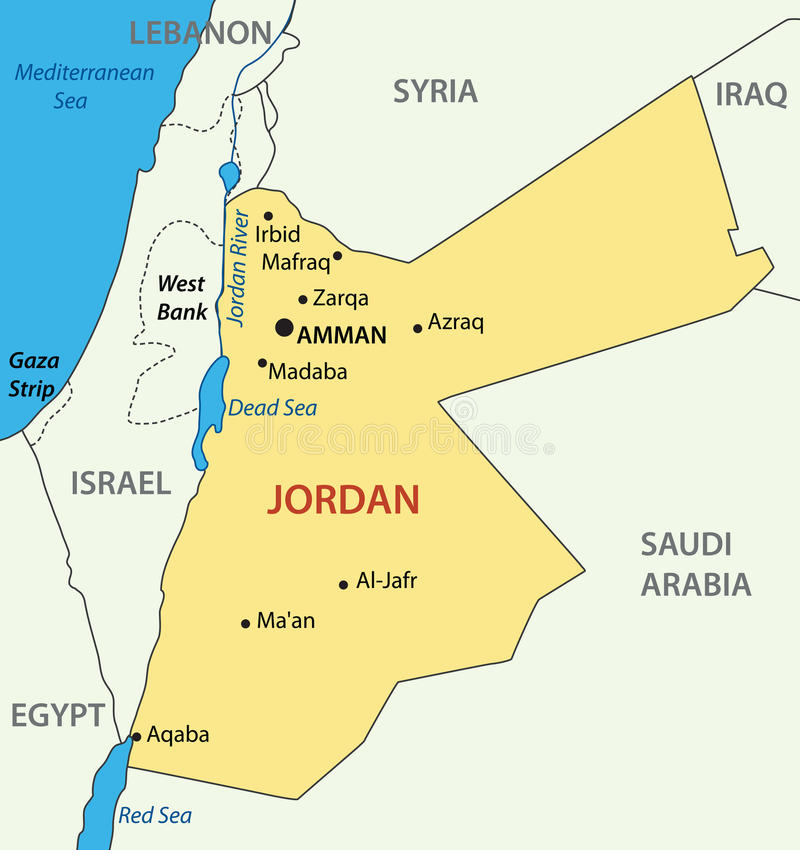 Hashemite Kingdom Of Jordan Map Vector Stock Vector Image - Jordan map download