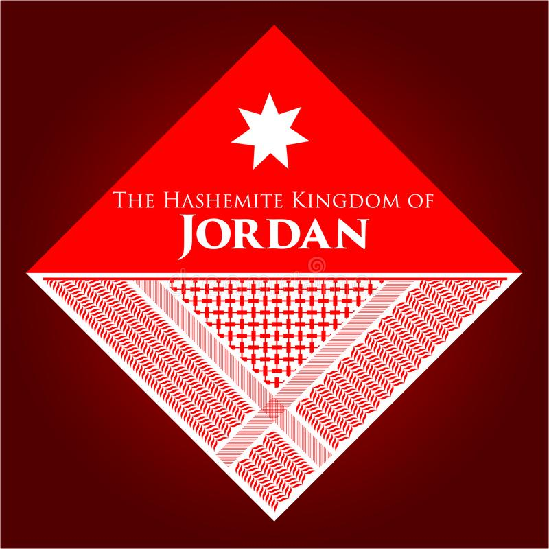 The Hashemite Kingdom of Jordan Vector banner. Vector banner for the Hashemite Kingdom of Jordan, comprised of the Shemagh pattern, The triangle and the star stock illustration