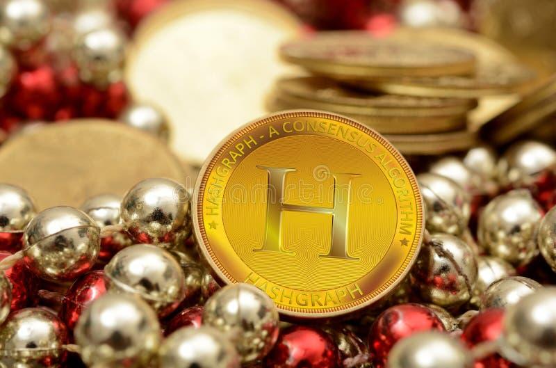 Hashgraph一个新的Cryptocurrency硬币特写镜头视图 免版税库存照片