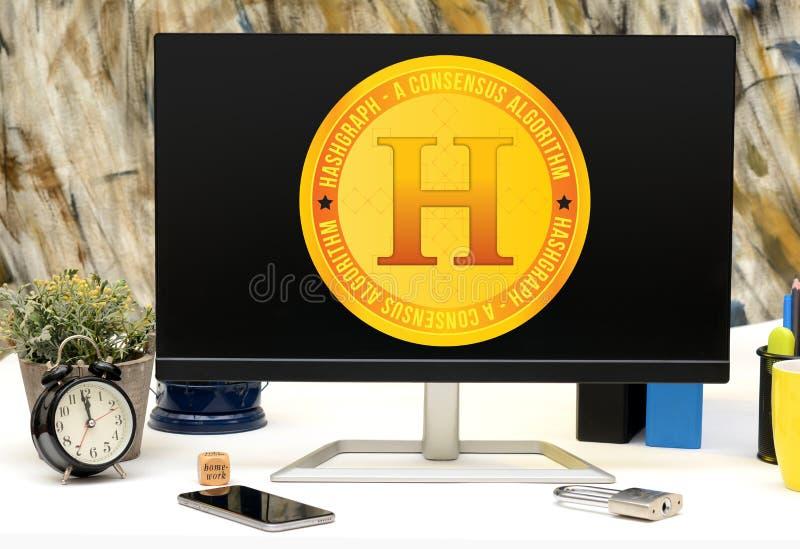Hashgraph很快将被发射的新的Cryptocurrency 库存图片