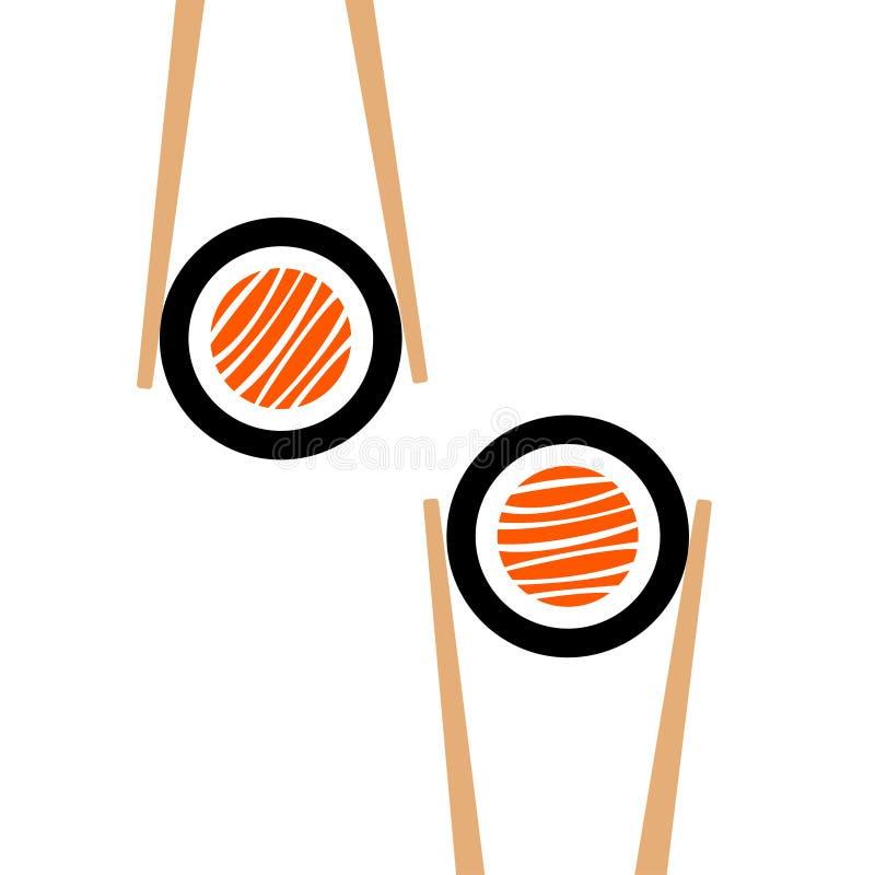 Hashis do vetor que hHolding o quadro do rolo de sushi ilustração stock