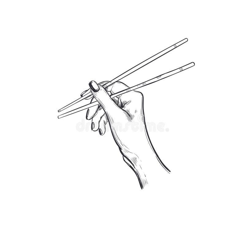 Hashis para o sushi Logotipo tirado mão do vetor para o alimento asiático A mão guarda varas para o sushi ilustração stock