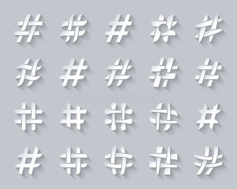 Hashtag简单的纸裁减象传染媒介集合 向量例证