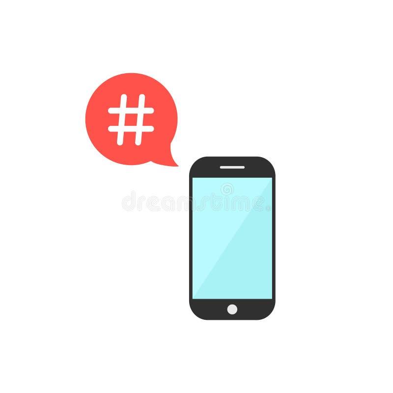 Hashtag στην κόκκινη λεκτική φυσαλίδα με το smartphone διανυσματική απεικόνιση
