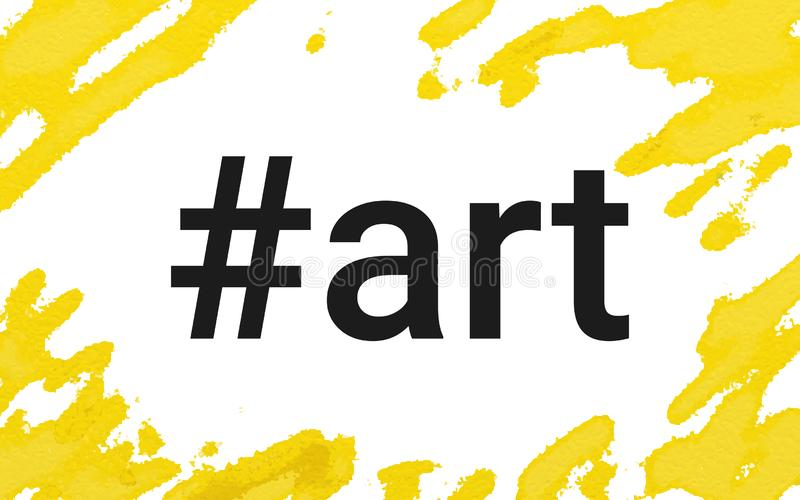 Hashtag art concept vector illustration of water color painting landscape banner with copy space on white stock illustration