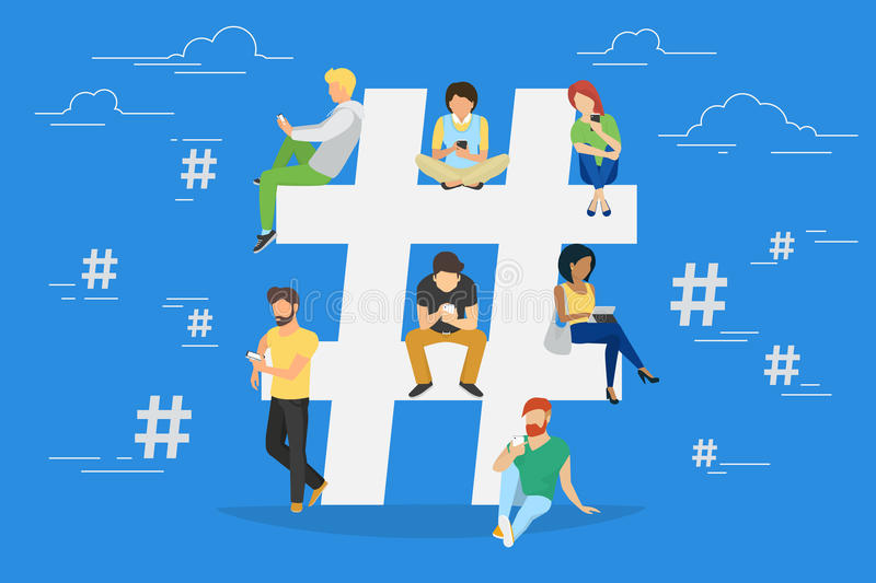 Hashtag concept illustration stock illustration