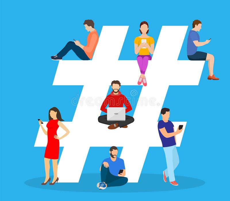 Hashtag concept. people using mobile. Tablet and smartphone for sending posts and sharing them in social media. Vector illustration in flat style vector illustration