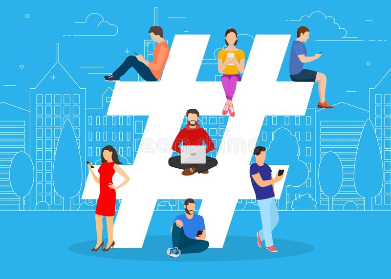 Hashtag concept. people using mobile. Tablet and smartphone for sending posts and sharing them in social media. Vector illustration in flat style stock illustration