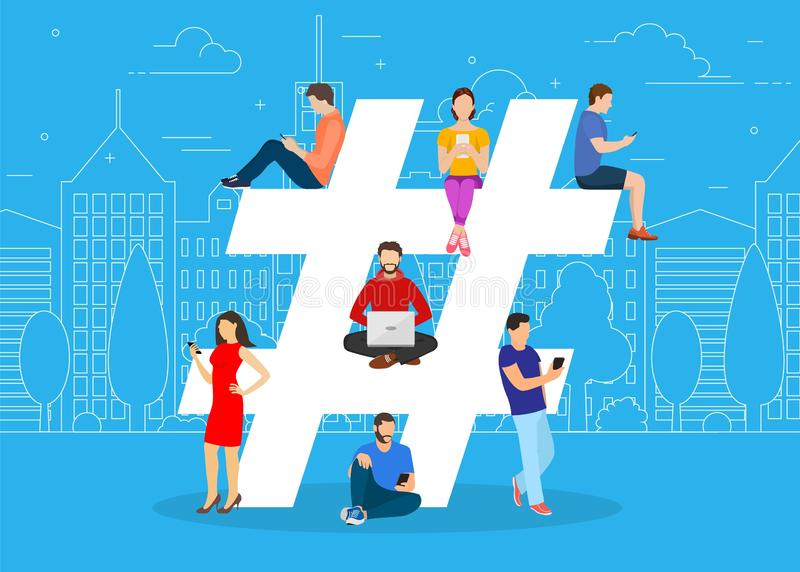 Hashtag concept. people using mobile. Tablet and smartphone for sending posts and sharing them in social media. Vector illustration in flat style royalty free illustration