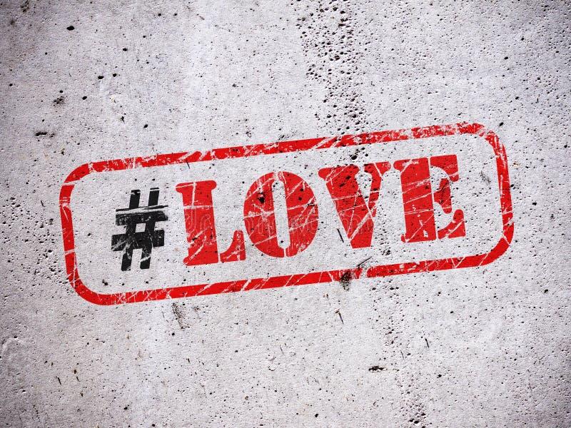 Hashtag d'amour sur le mur illustration de vecteur