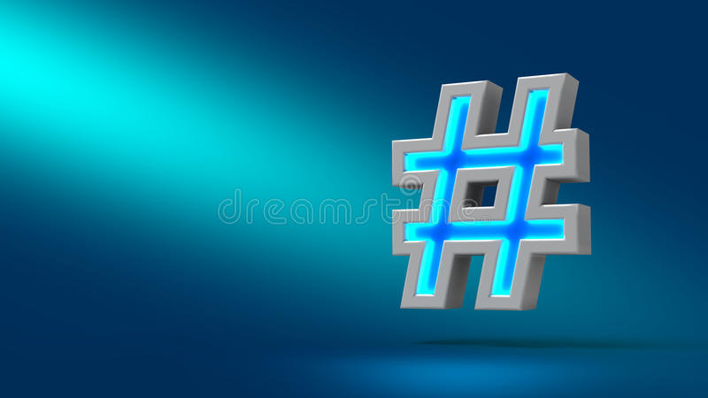 Hashtag 3d tecken stock illustrationer