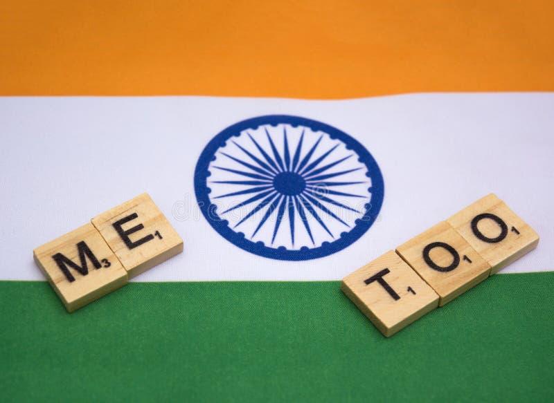 Hashtag de protestation d'Internet imitation sur le drapeau indien images stock