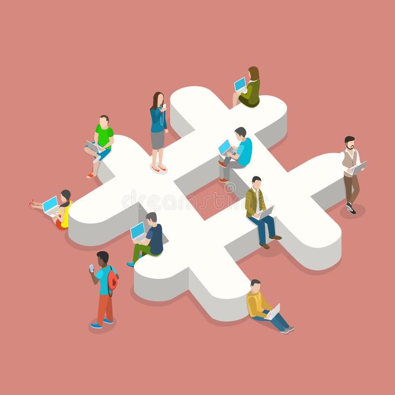 Hashtag flat isometric vector concept. People with laptops and smartphones are sitting on and around the three-dimensional hashtage sign vector illustration