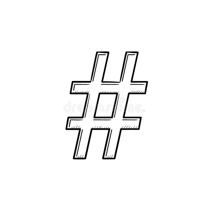 Hashtag Hand Drawn Outline Doodle Icon. Stock Vector ...