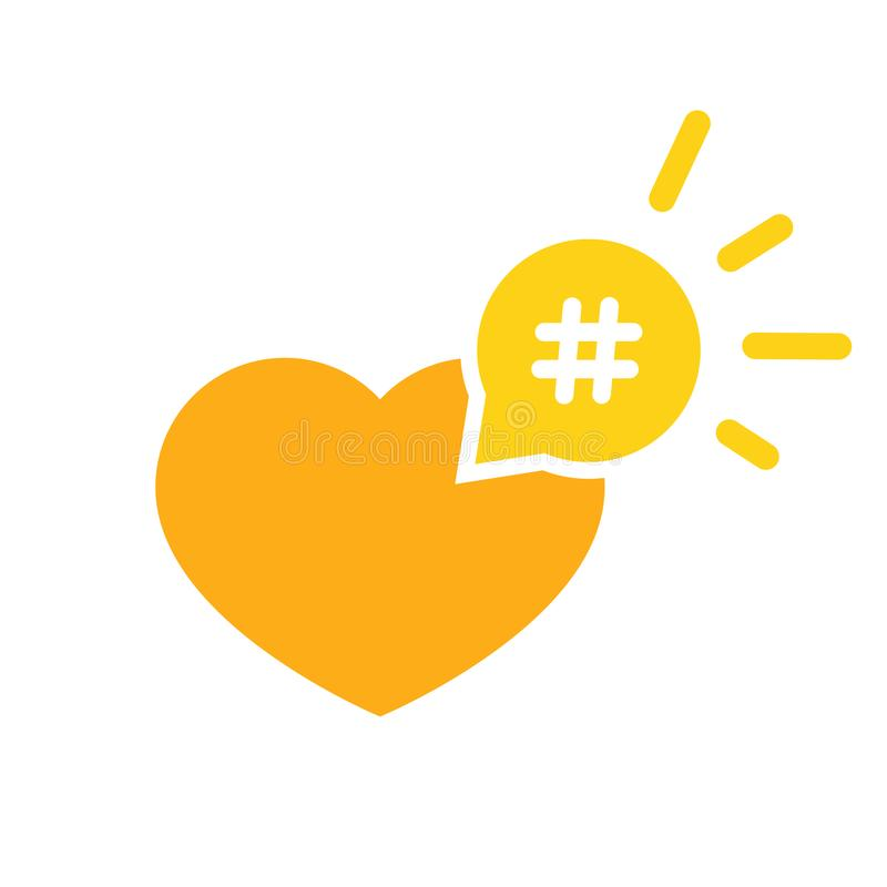 Hashtag icon like heart - smm promotion and share royalty free illustration