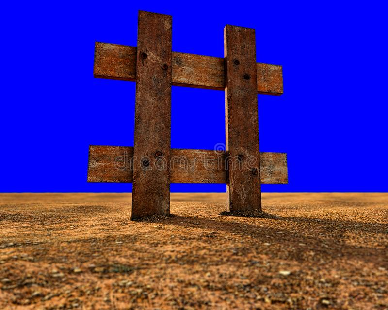 Hashtag Icon made of wood - old wooden hashtag icon at sunset on floor of clay and stones with blue background. 3D illustration stock illustration