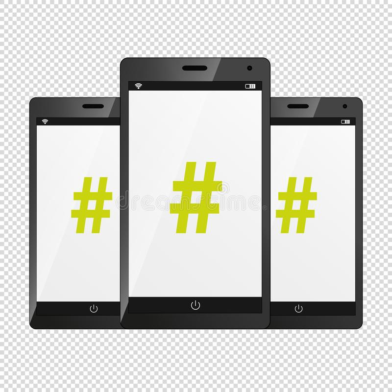 Hashtag Icon On Modern Mobile Devices - Vector Illustration - Isolated On Transparent Background royalty free illustration