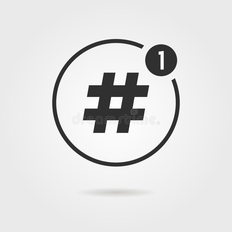 Hashtag ikona z powiadomieniem ilustracji