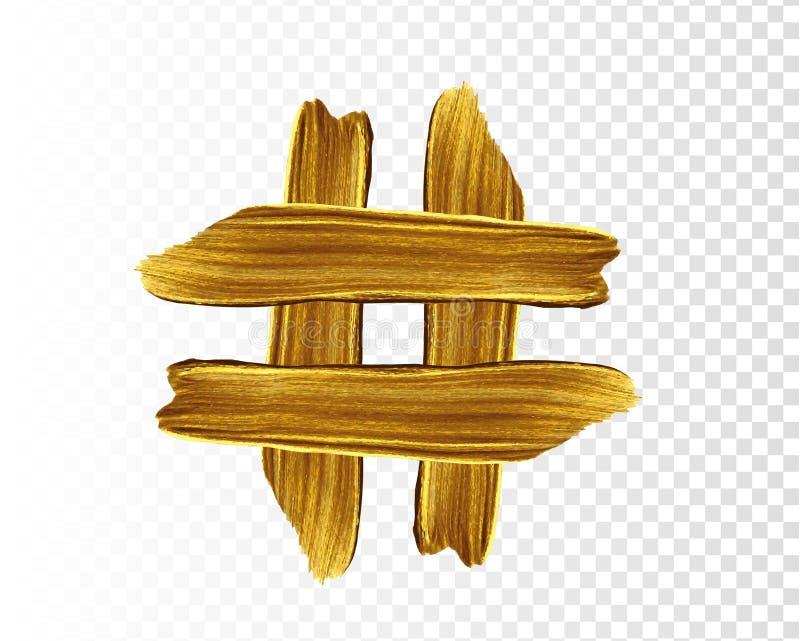 Hashtag-Ikonenvektor Lokalisiert auf stilvollem T?rkishintergrund Vektorgoldfarbenabstrich-Anschlagfleck Zusammenfassungsgoldstru vektor abbildung