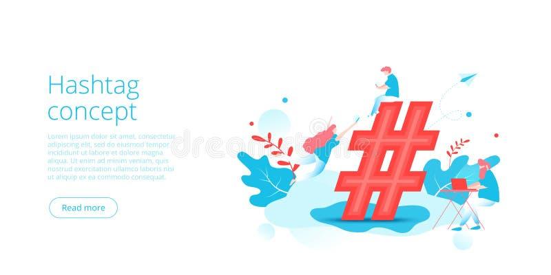 Hashtag-Konzept in der isometrischen Vektorillustration Social Media-Netzhintergrund mit Leuten und Zeichen Teilendes Millenials  lizenzfreie abbildung