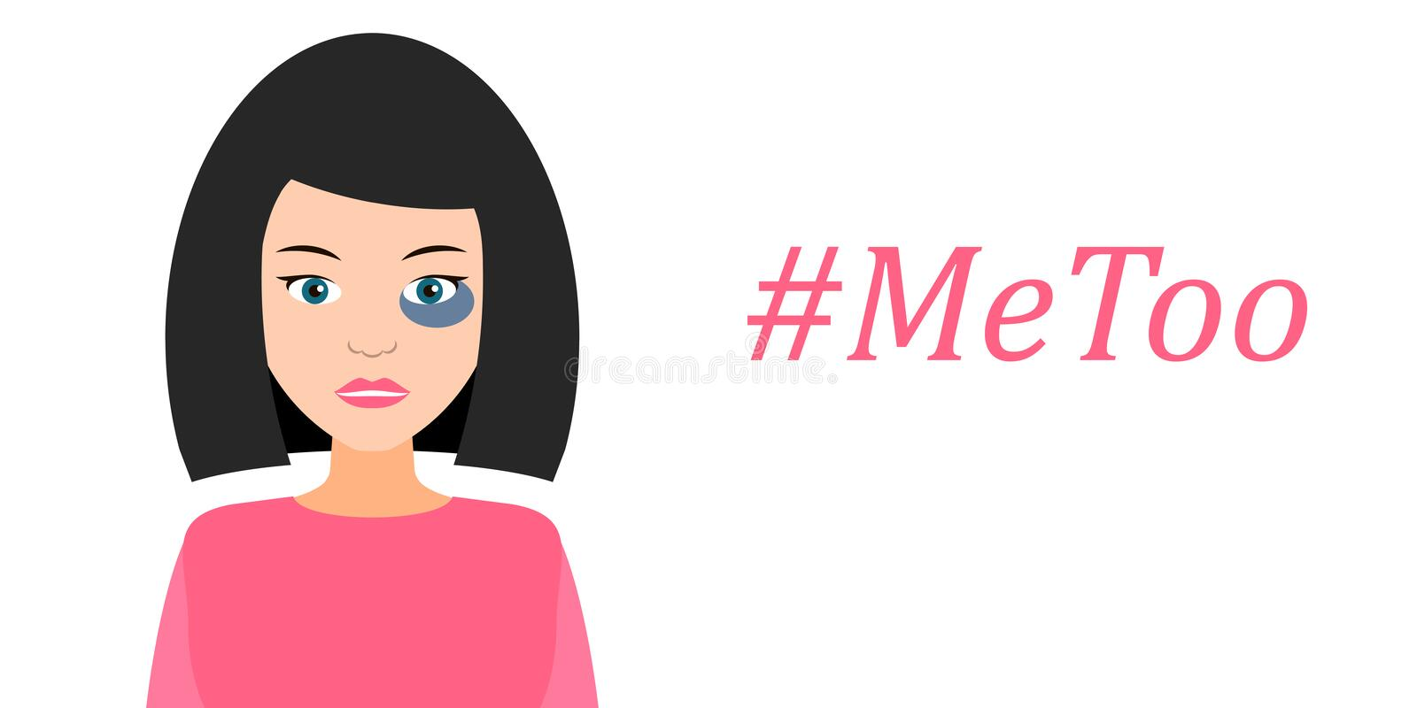 Hashtag Me Too. Girl with the bruise. Vector illustration. vector illustration