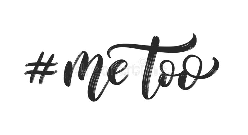 Hashtag mig för Skriftkalligrafi också vektor för coreldrawillustration Rörelsen mot sextrakasseri handskrivet stock illustrationer