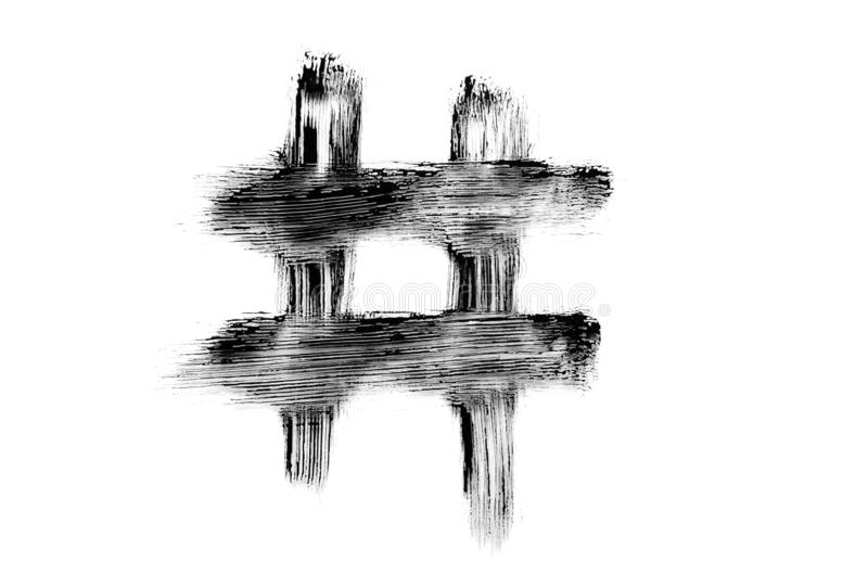 Hashtag mit schwarzer Mascara-Bürste gezeichnet, Smudges Textur. Makro für das Symbol der Kreativen Zahl auf weißem Hintergrund stockfotografie