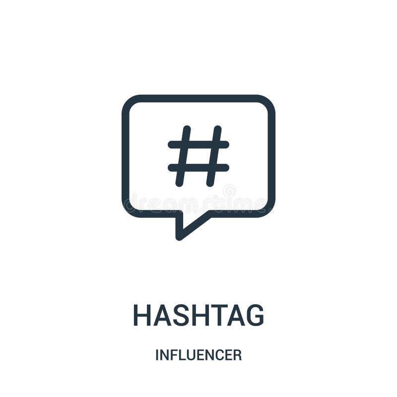 hashtag pictogramvector van influencerinzameling De dunne lijn hashtag schetst pictogram vectorillustratie royalty-vrije illustratie