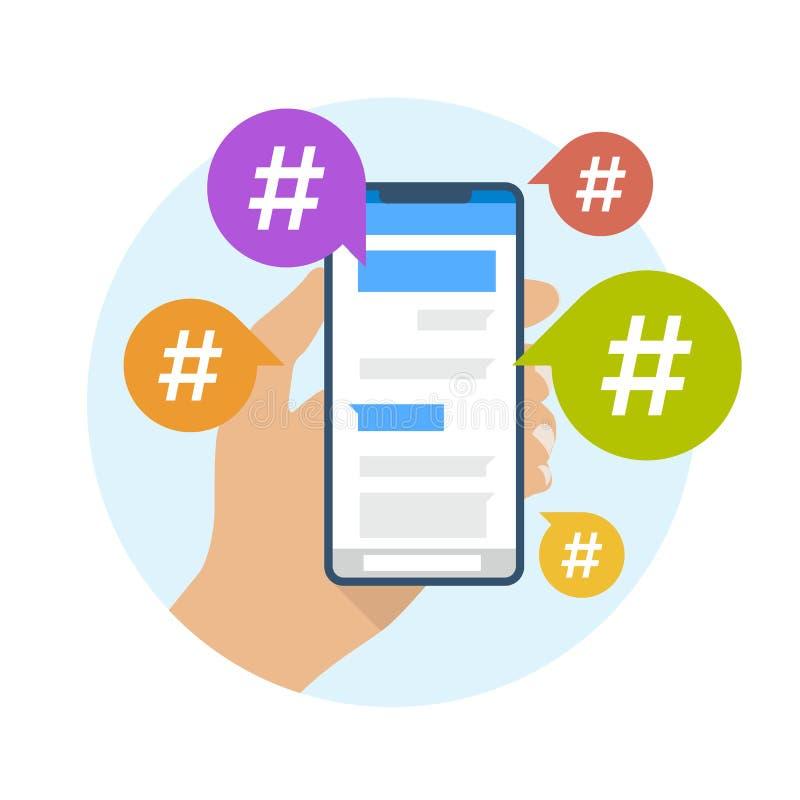 Hashtag pojęcie z ręka chwyta telefonem komórkowym i hashtag podpisujemy wewnątrz mowa bąbli wektorowego projekt ilustracji