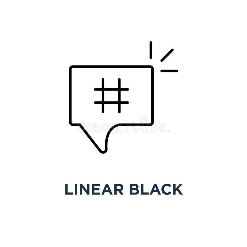 hashtag preto linear no ícone da bolha, do logotype simples na moda mínimo da etiqueta da mistura do estilo do símbolo conceito d ilustração stock