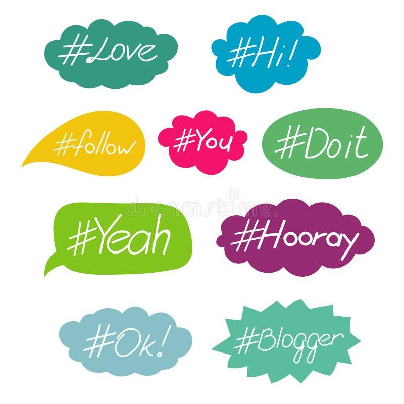 Hashtag słowa w mowa bąbla wektoru secie ilustracji