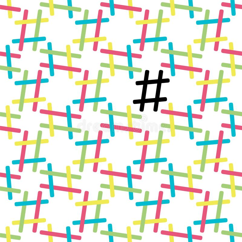 Hashtag seamless pattern on white vector illustration