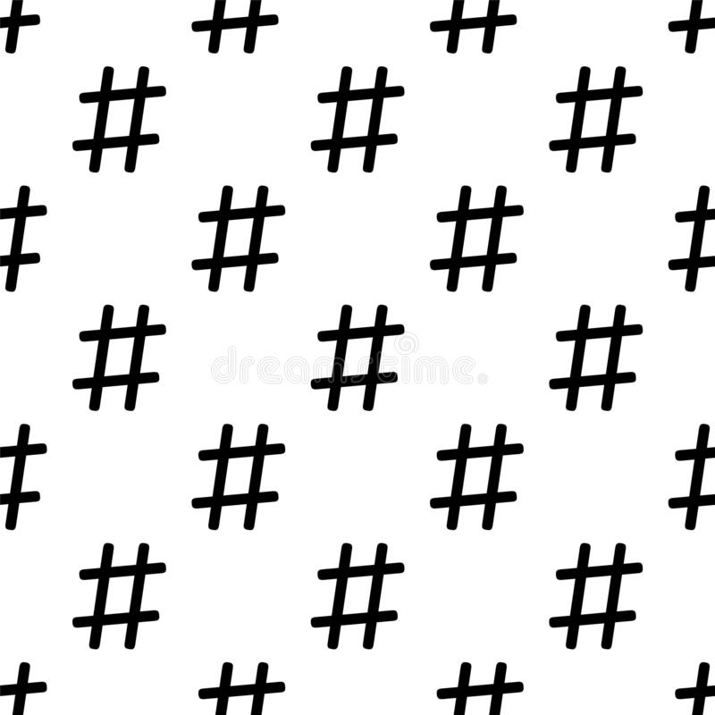 Hashtag seamless pattern on white. Black and white colors royalty free illustration