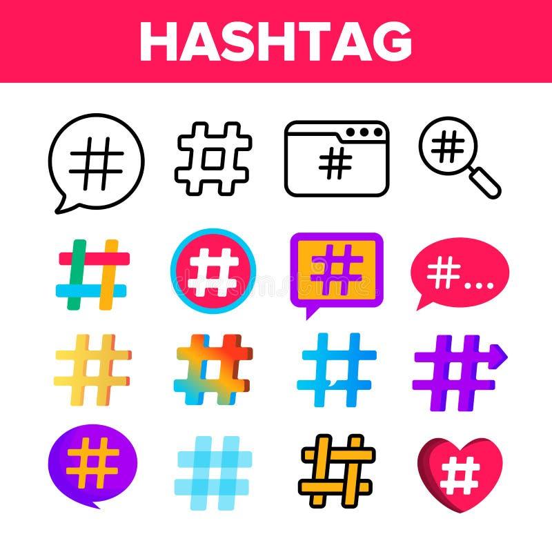 Hashtag, sistema de los iconos del color del vector de la muestra de número ilustración del vector