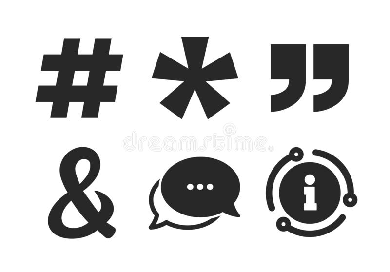 Quote, asterisk footnote icons. Hashtag symbol. Vector. Hashtag social media and ampersand symbols. Chat, info sign. Quote, asterisk footnote icons. Programming stock illustration