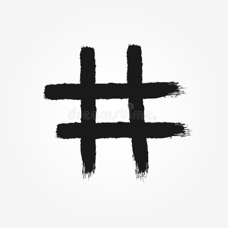 Hashtag symbol drawn by hand with rough brush. Isolated icon, sign, logo. stock illustration