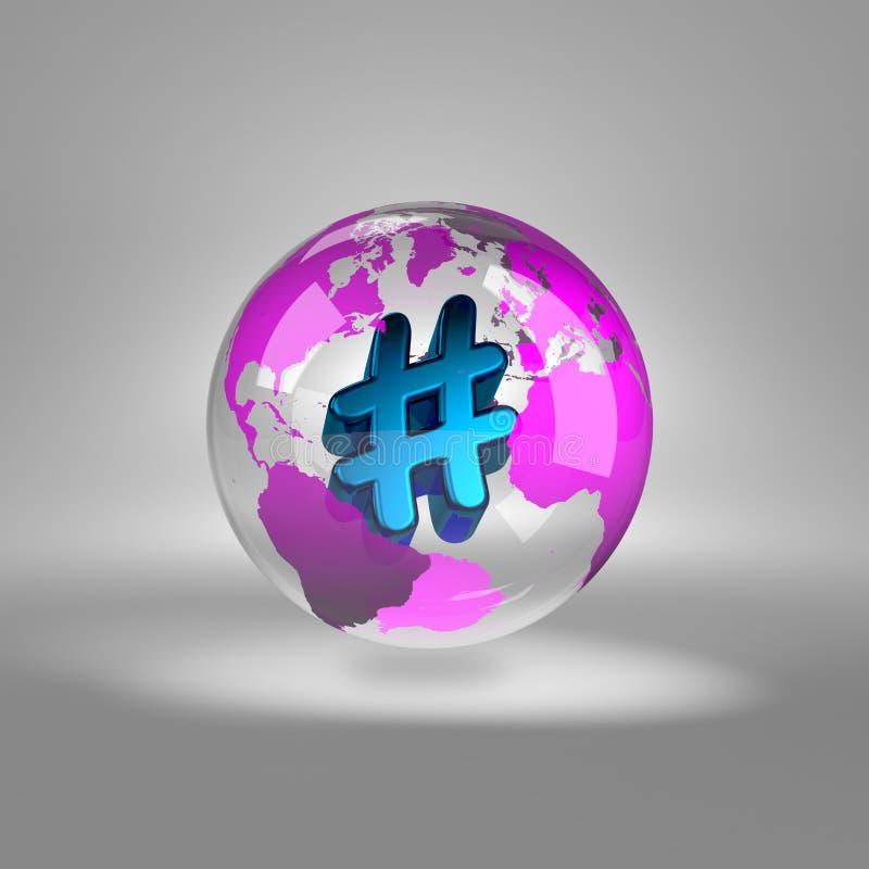 Hashtag-Symbol in eine transparente Weltkugel stock abbildung