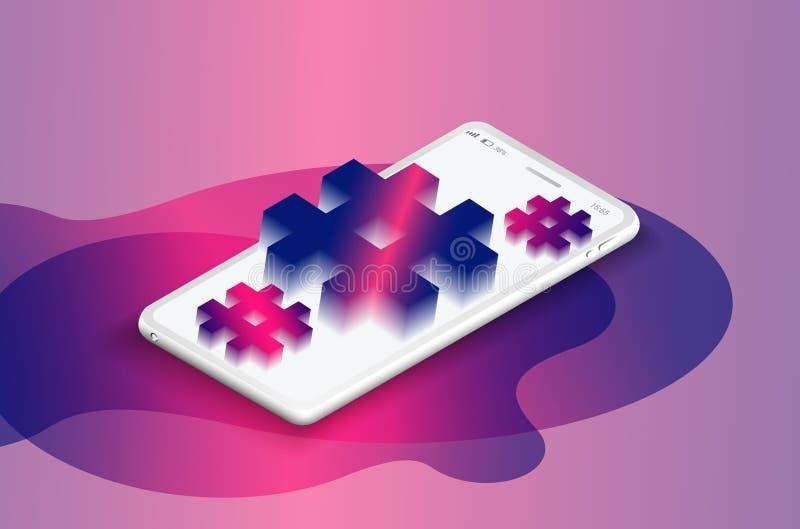 Hashtag tecken Isometrisk smartphone med PÖLSAETIKETTEN royaltyfri illustrationer