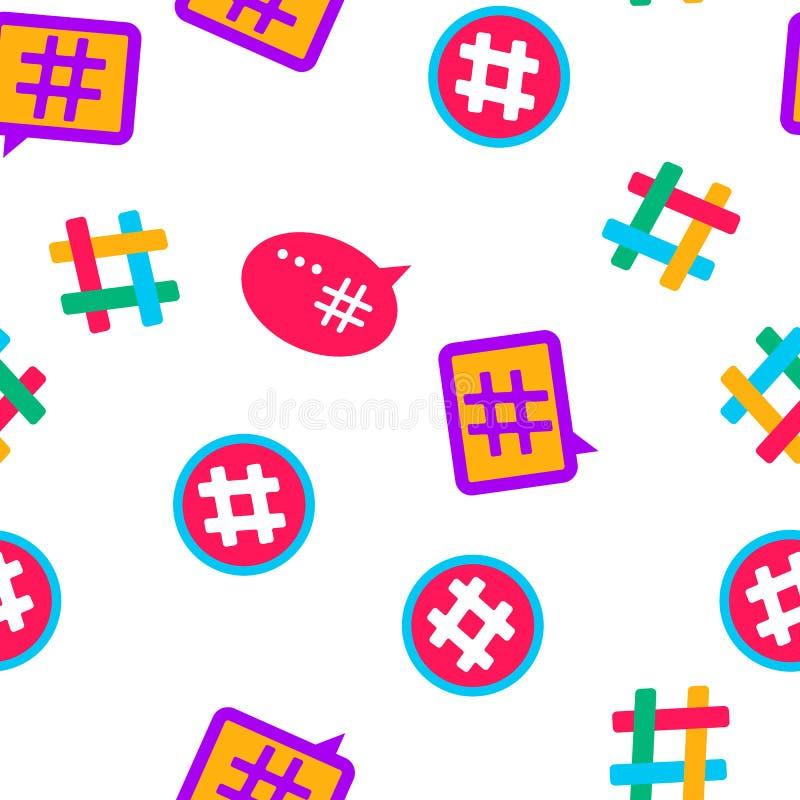 Hashtag, teste padrão sem emenda do vetor do sinal de número ilustração royalty free