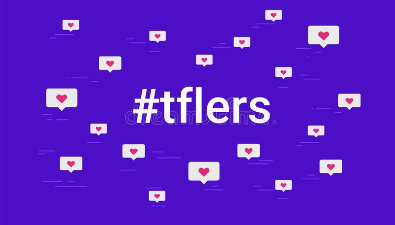 Hashtag tflers concept vector illustration of cloud of flying hearts symbols. Tag for likes flat design for social media. Hashtag tflers concept vector royalty free illustration