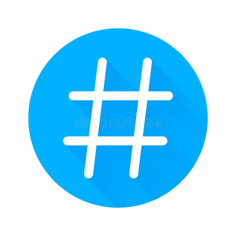 Hashtag vector icon for social network or internet application. Hashtag isolated symbol in blue circle white background. Hashtag vector icon for social network royalty free illustration