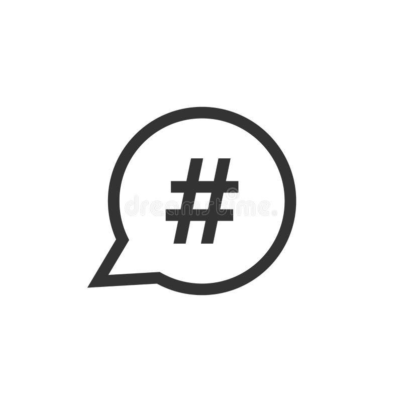 Hashtag-Vektorikone in der flachen Art Social Media, das illust vermarktet lizenzfreie abbildung